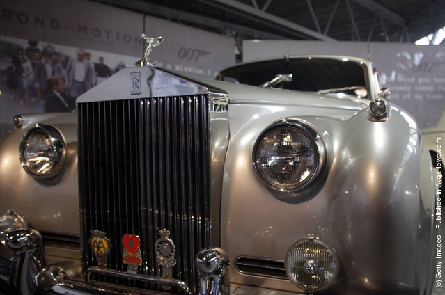 A Rolls-Royce Silver Cloud II that was used in the James Bond film A View To A Kill and is currently being displayed at the Bond In Motion exhibition