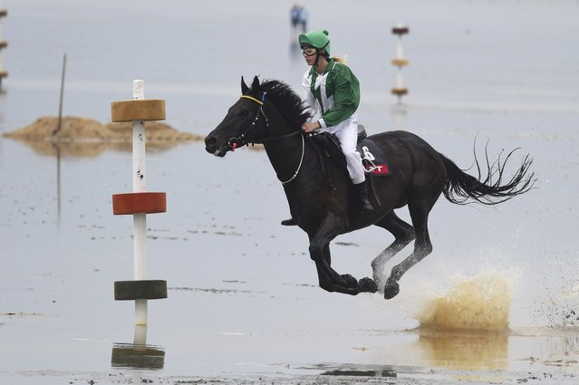 A jockey rides her horse on mud flats during the tideland race (Wadden Race) in Duhnen, Lower Saxony, Germany, July 12, 2015. (Photo by Fabian Bimmer/Reuters)