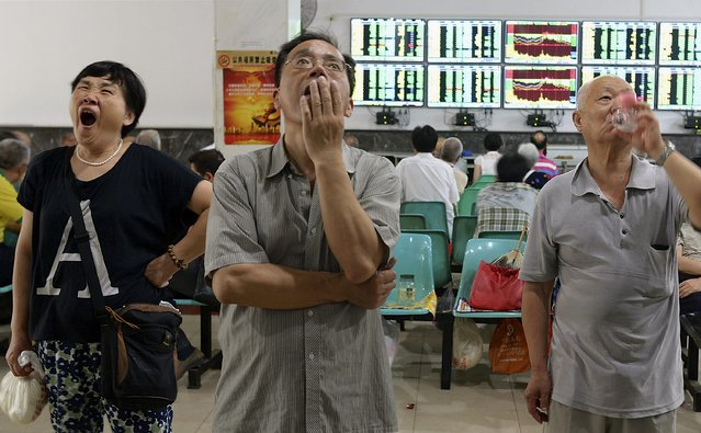 Investors look at computer screens showing stock information at a brokerage house in Wuhan, Hubei province, China, July 3, 2015. China stocks slumped again on Friday, taking their three-week tumble to nearly 30 percent and wiping out most of this year's gains. (Photo by Reuters/China Daily)