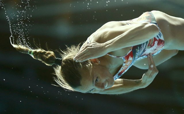 Italy's Tania Cagnotto dives in the women's 1m springboard finals at the Aquatics World Championships in Kazan, Russia, July 28, 2015. (Photo by Hannibal Hanschke/Reuters)
