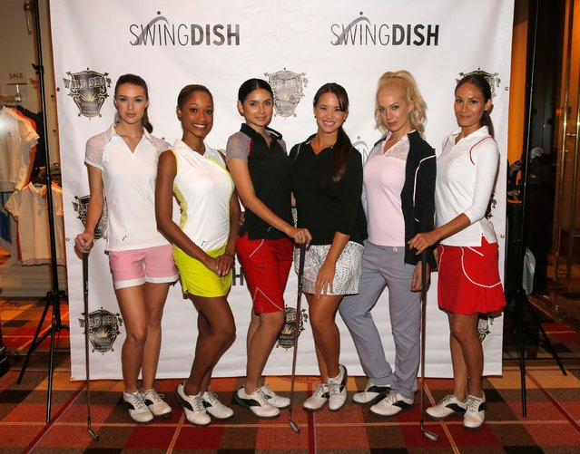 Models pose during the SwingDish Launch Event at The Country Club at Wynn Las Vegas on August 18, 2015 in Las Vegas, Nevada. (Photo by Isaac Brekken/Getty Images for Swingdish)