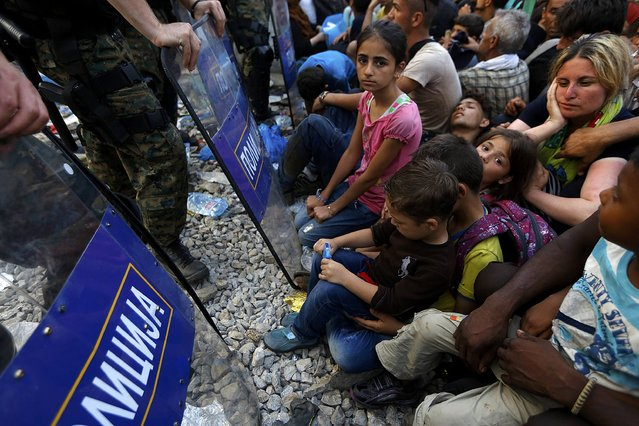 Syrian refugees sit in front of Macedonian riot police guarding the Greek-Macedonian border line, near the village of Idomeni, August 21, 2015. (Photo by Yannis Behrakis/Reuters)