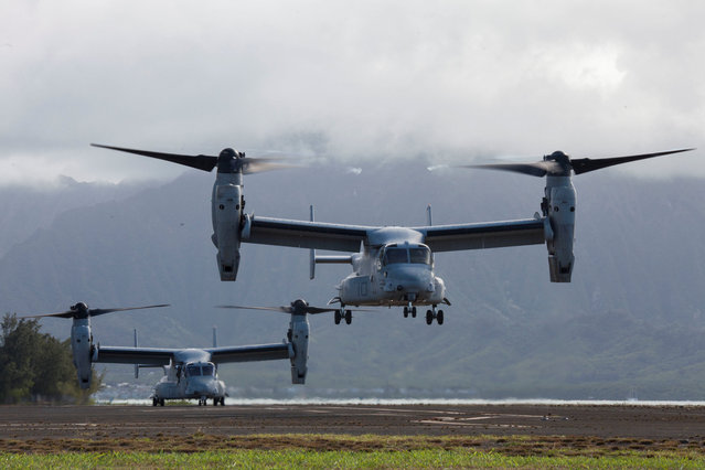 U.S. MV-22 Osprey aircrafts with Marine Medium Tiltrotor Squadron 268, lift off from Marine Corps Air Station Kaneohe Bay in Hawaii, U.S. on July 25, 2017. Picture taken on July 25, 2017. (Photo by Courtesy Jesus Sepulveda Torres/Reuters/U.S. Marine Corps)