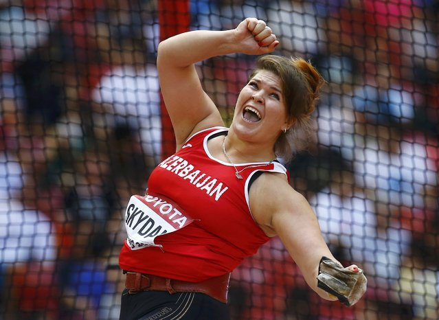 Hanna Skydan of Azerbaijan competes in the women's hammer throw qualifying round during the 15th IAAF World Championships at the National Stadium in Beijing, China, August 26, 2015. (Photo by Kai Pfaffenbach/Reuters)