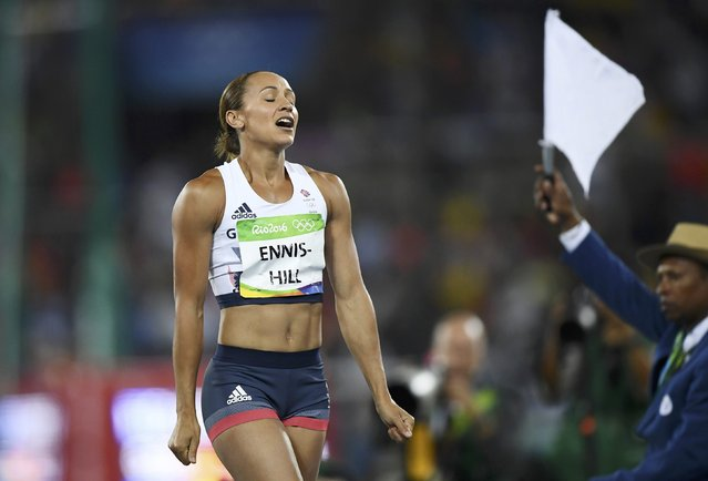 2016 Rio Olympics, Athletics, Women's Heptathlon Javelin Throw, Groups, Olympic Stadium, Rio de Janeiro, Brazil on August 13, 2016. Jessica Ennis-Hill (GBR) of Britain reacts after a throw competing in Javelin group A women's heptathlon. (Photo by Dylan Martinez/Reuters)