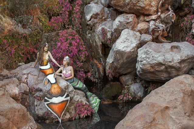 Brandi and Noah Cyrus as Project Mermaids model. (Photo by Angelina Venturella/Chiara Salomoni/Caters News Agency)