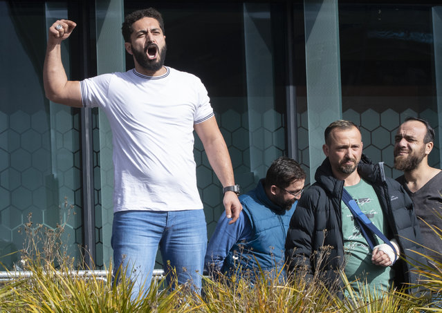 Mosque shooting survivor Wassiem Daragmih thanks supporters as they leave the Christchurch High Court after the sentencing hearing for Australian Brenton Harrison Tarrant, in Christchurch, New Zealand, Thursday, August 27, 2020. Tarrant, a white supremacist who killed 51 worshippers at two New Zealand mosques in March 2019 was sentenced to life in prison without the possibility of parole. (Photo by Mark Baker/AP Photo)