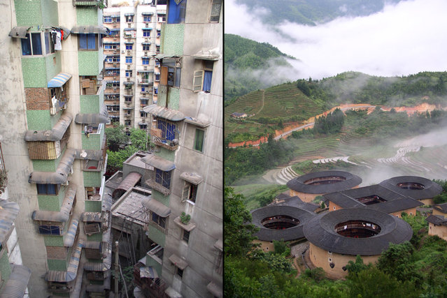Left: Chongqing City, a dense cluster of apartment towers in China's most populous municipality. Right: Tulou earth village of the Fujian Hakka people. (Photo by Tom Carter/The Atlantic)