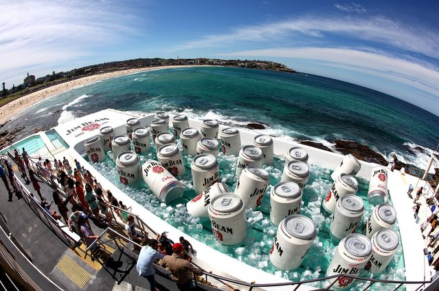 The Bondi Icerbergs Pool was converted into a giant esky ice chest during the filiming of a Jim Beam commercial at Bondi Icebergs on March 21, 2013 in Sydney, Australia.  (Photo by Marianna Massey)