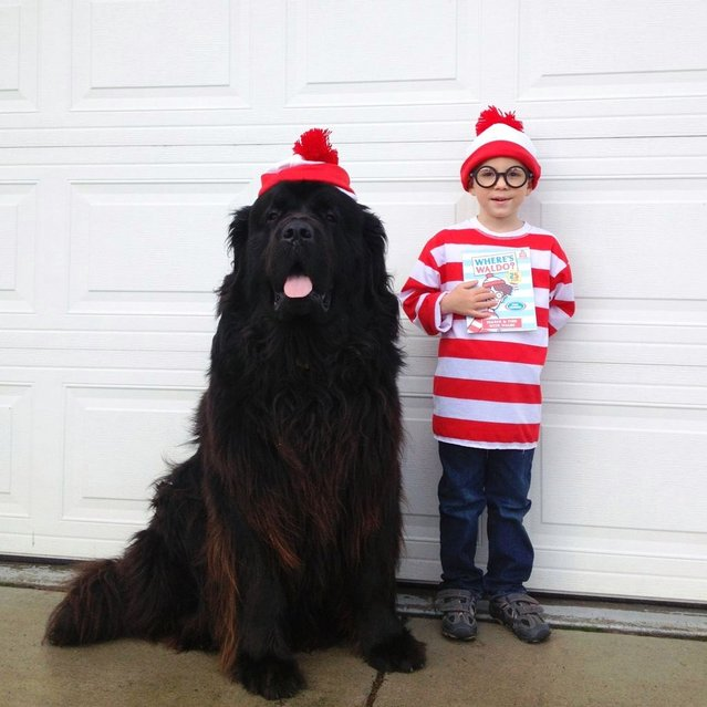 """Max and Julian play a game of """"Where's Waldo"""" in front of the garage. (Photo by Stasha Becker/Rex Features)"""