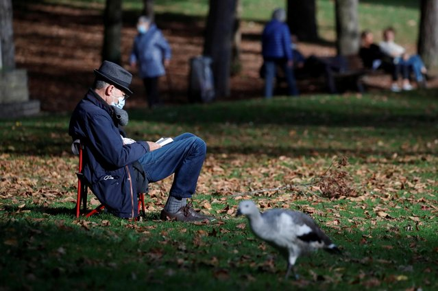 A man, wearing a protective face mask, reads a book in a park during the second national lockdown as part of the measures to fight a second wave of the coronavirus disease (COVID-19) in Nantes, France, November 9, 2020. (Photo by Stephane Mahe/Reuters)