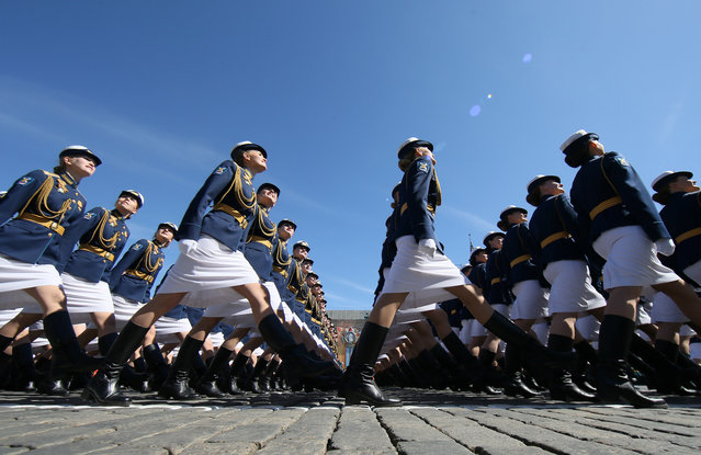 Russian servicewomen march during the Victory Day parade at Red Square in Moscow, Russia on May 09, 2018. (Photo by Maxim Shipenkov/Reuters)