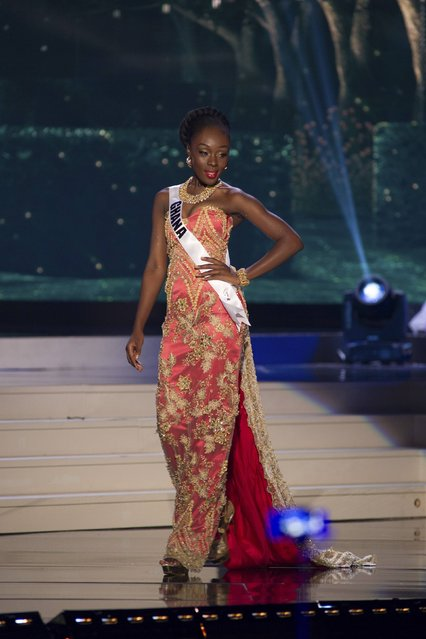 Abena Appiah, Miss Ghana 2014 competes on stage in her evening gown during the Miss Universe Preliminary Show in Miami, Florida in this January 21, 2015 handout photo. (Photo by Reuters/Miss Universe Organization)