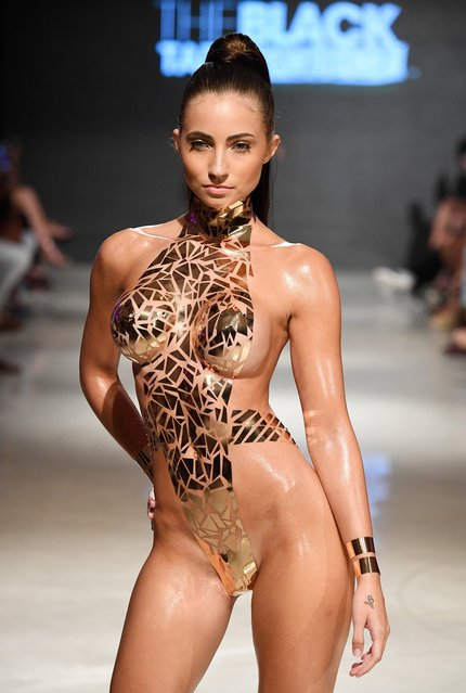 A model walks the runway for Black Tape Project at Miami Swim Week powered by Art Hearts Fashion Swim/Resort 2018/19  at Faena Forum on July 15, 2018 in Miami Beach, Florida. (Photo by Arun Nevader/Getty Images for Art Hearts Fashion)