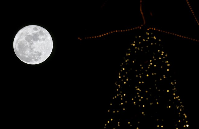 A full moon rises in the sky over a Christmas tree in Beirut, Lebanon, December 25, 2015. (Photo by Jamal Saidi/Reuters)