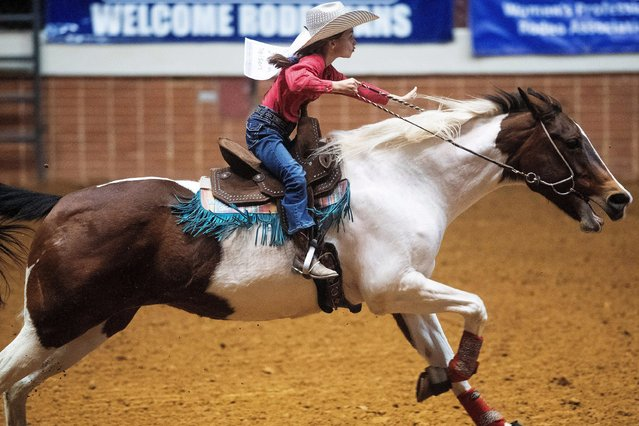 Rainey Nelson competes in barrel racing during the Little Britches Rodeo at Garrett Coliseum Montgomery, Ala., on Saturday March 13, 2021. The Little Britches Rodeo is youth rodeo and is being held in conjunction with the SLE Rodeo. (Photo by Mickey Welsh/SIPA USA/Advertiser/USA Today Network)