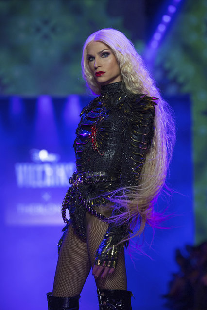 Designer Phillipe Blond models during the presentation of the Blonds spring 2019 collection with a Disney villains theme during Fashion Week Friday, September 7, 2018. (Photo by Kevin Hagen/AP Photo)