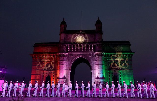 Indian Naval personnel demonstrate a marching exercise in front of the Gateway of India during the Navy Day celebrations in Mumbai, India, December 4, 2016. (Photo by Shailesh Andrade/Reuters)