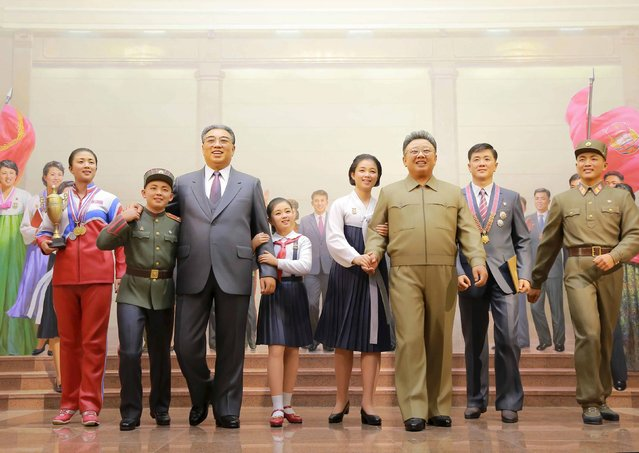 Statues, including North Korea's founder Kim Il Sung (3rd L) and his son Kim Jong Il (3rd R), are exhibited during a visit by North Korean leader Kim Jong Un (not pictured) at the newly built Youth Movement Museum in this undated photo released by North Korea's Korean Central News Agency (KCNA) in Pyongyang January 20, 2015. (Photo by Reuters/KCNA)