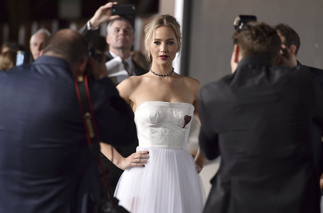 """Jennifer Lawrence arrives at the Los Angeles premiere of """"Passengers"""" at the Village Theatre Westwood on Wednesday, December 14, 2016. (Photo by Jordan Strauss/Invision/AP Photo)"""