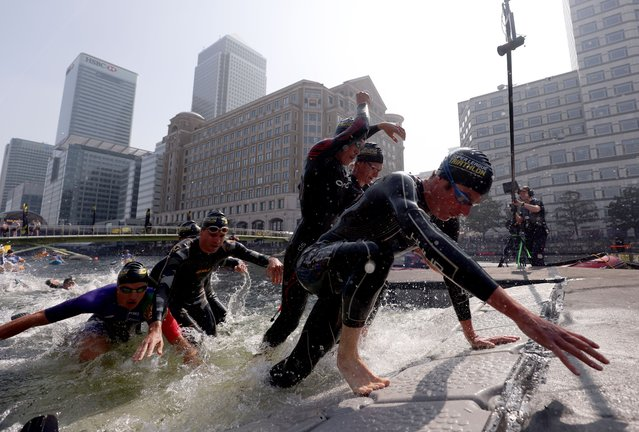 Cheetah's Jonathan Brownlee exits the water during the men's race during the Super League Triathlon Championship 2021 in London, United Kingdom on Sunday, September 5, 2021. (Photo by Steven Paston/PA Images via Getty Images)