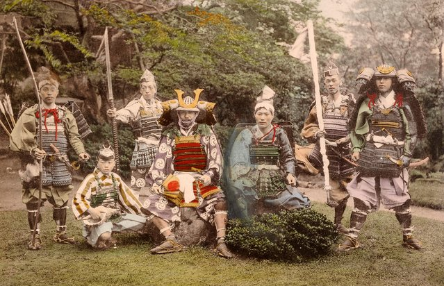 A group of Samurai or Japanese warriors with their ancient arms and armour, circa 1870. (Photo by Popperfoto/Getty Images)