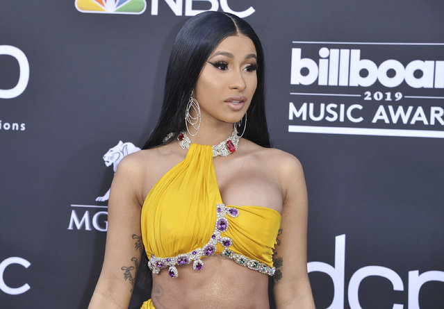 Cardi B arrives at the Billboard Music Awards on Wednesday, May 1, 2019, at the MGM Grand Garden Arena in Las Vegas. (Photo by Richard Shotwell/Invision/AP Photo)