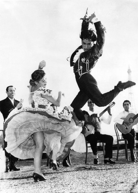 Spanish flamenco dancers Rosario and Antonio rehearse on the terrace of the Champs Elysees Theatre in Paris