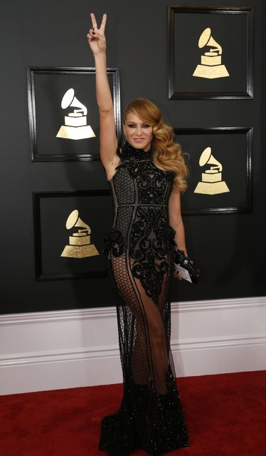 Singer Paulina Rubio arrives at the 59th Annual Grammy Awards in Los Angeles, California, U.S., February 12, 2017. (Photo by Mario Anzuoni/Reuters)