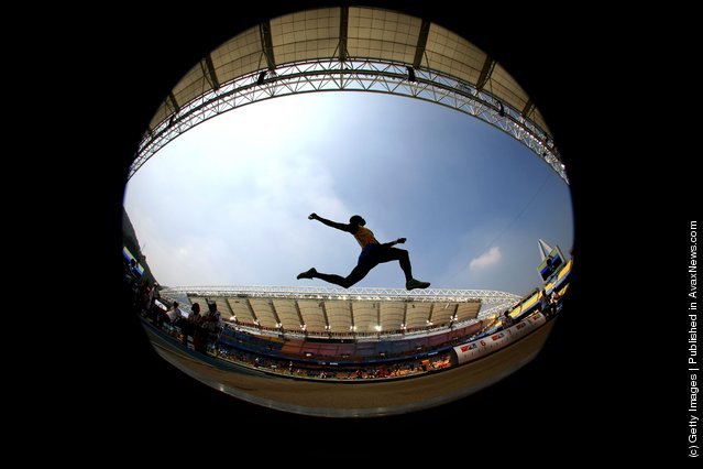 Ignisious Gaisah of Ghana competes in the men's long jump qualification round during day six of the 13th IAAF World Athletics Championships at the Daegu Stadium