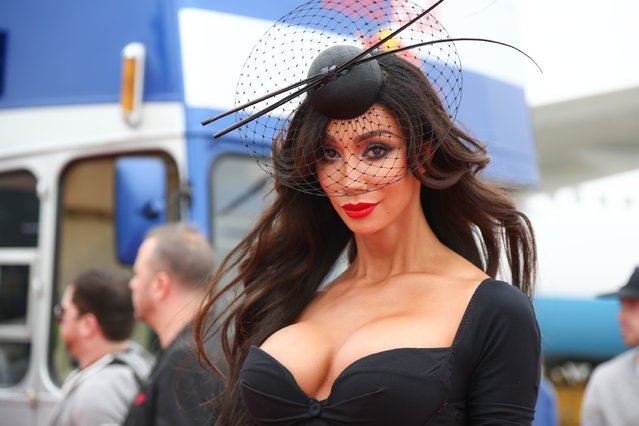 Model Yasmine Petty arrives on the Life Ball plane on May 15, 2015 in Vienna, Austria. The Life Ball, an annual charity ball raising funds for HIV & AIDS projects, will take place on May 16, 2015 at the city hall in Vienna. (Photo by Monika Fellner/Getty Images)
