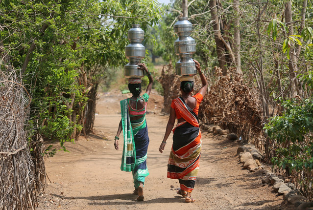 Women carry pitchers after filling them with water from a hand pump to their houses in Thane district in the western state of Maharashtra, India, May 30, 2019. (Photo by Francis Mascarenhas/Reuters)