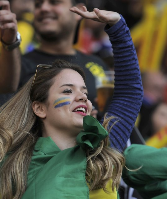 A Brazil fan cheers as she awaits the start of the team's Copa America 2015 quarter-finals soccer match against Paraguay at Estadio Municipal Alcaldesa Ester Roa Rebolledo in Concepcion, Chile, June 27, 2015. (Photo by Jose Luis Saavedra/Reuters)