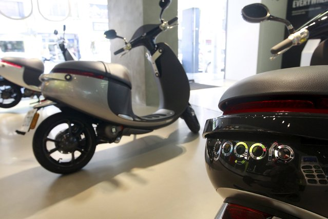 Gogoro Smartscooters are displayed in its shop in Taipei, Taiwan, July 6, 2015. (Photo by Pichi Chuang/Reuters)