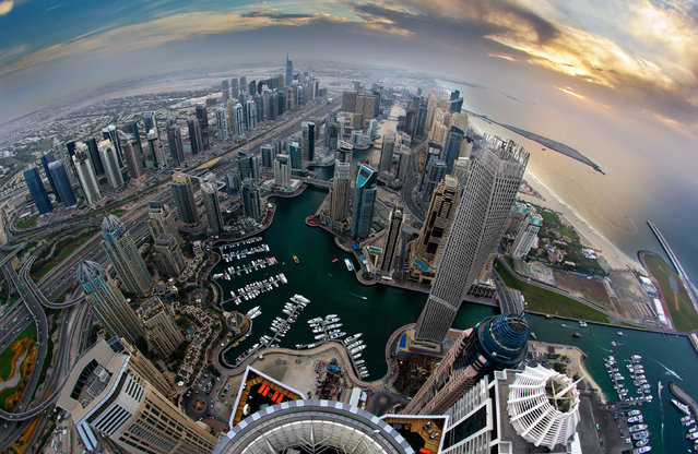 Dubai from the top of a building. (Photo by Alexander Remnev/Caters News)