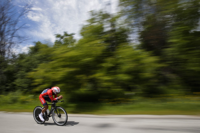 United States' Eric Marcotte pedals during the men's individual time trial cycling competition at the Pan Am Games in Milton, Ontario, Wednesday, July 22, 2015. (Photo by Felipe Dana/AP Photo)