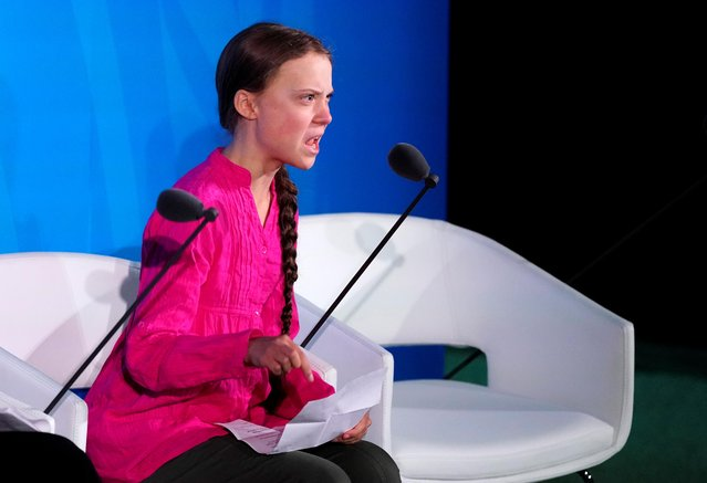"Sixteen-year-old Swedish climate activist Greta Thunberg speaks at the United Nations Climate Action Summit at U.N. headquarters in New York City, September 23, 2019. ""You have stolen my dreams and my childhood with your empty words"", Thunberg said at a U.N. climate change summit, admonishing adults for not doing enough to protect the environment. (Photo by Carlo Allegri/Reuters)"