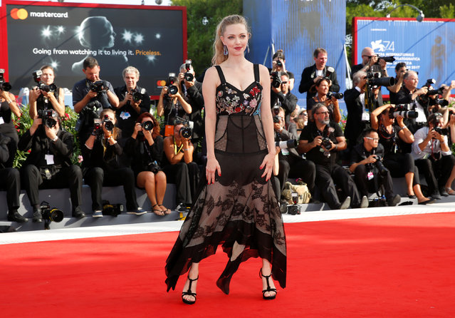 """Actor Amanda Seyfried poses during a red carpet event for the movie """"First reformed"""" at the 74th Venice Film Festival in Venice, Italy on August 30, 2017. (Photo by Alessandro Bianchi/Reuters)"""