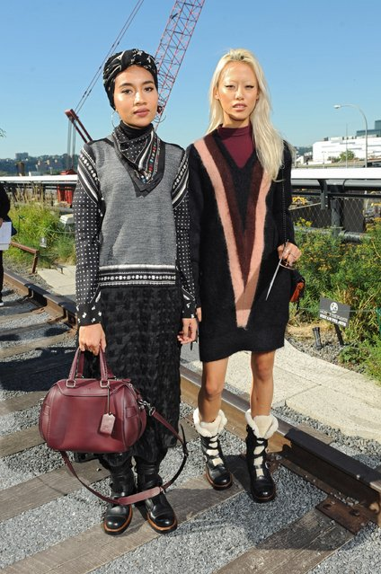 Musician Yuna Zarai (L) and model Sheena Liam attend the Coach Women's Spring 2016 fashion show during New York Fashion Week at The Highline on September 15, 2015 in New York City. (Photo by Brad Barket/Getty Images for Coach)