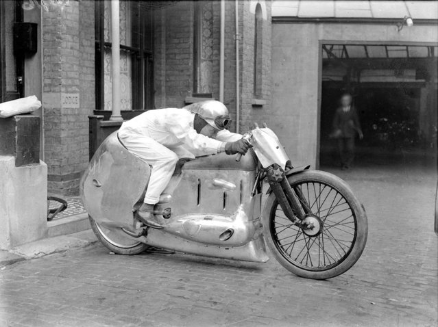 Handout photo issued by Easyart of an experimental motorcycle as an archive of weird and wacky innovations has been unearthed by an amateur historian as he trawled through a collection of images spanning the last 100 years. (Photo by Easyart/PA Wire)