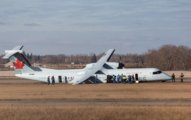 Investigators look over the scene of an Air Canada passenger plane after it had rough landing in Edmonton, Alberta on Friday, November 7, 2014. Flight 8481 was on its way to Grande Prairie, Alberta, from Calgary and was carrying 71 passengers and a crew of four. There were reports that one of the plane's tires blew out on takeoff, but a crosswind prevented the aircraft from returning to Calgary so it carried on to Edmonton. (Photo by Jason Franson/AP Photo/The Canadian Press)