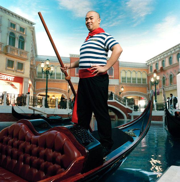 """Chai"" Ricardo Relucio Jr Singing gondolier at the Venetian Macau, a casino and hotel in Macau. (Photo by Mathias Braschler and Monika Fischer)"