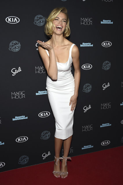 Hailey Clauson attends the Sports Illustrated Swimsuit Issue launch party at Magic Hour at Moxy NYC Times Square on Wednesday, February 14, 2018, in New York, USA. (Photo by Evan Agostini/Invision/AP Photo)
