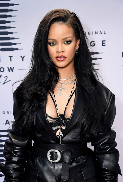 In this image released on October 1, Rihanna attends the second press day for Rihanna's Savage X Fenty Show Vol. 2 presented by Amazon Prime Video at the Los Angeles Convention Center in Los Angeles, California; and broadcast on October 2, 2020. (Photo by Kevin Mazur/Getty Images for Savage X Fenty Show Vol. 2 Presented by Amazon Prime Video)