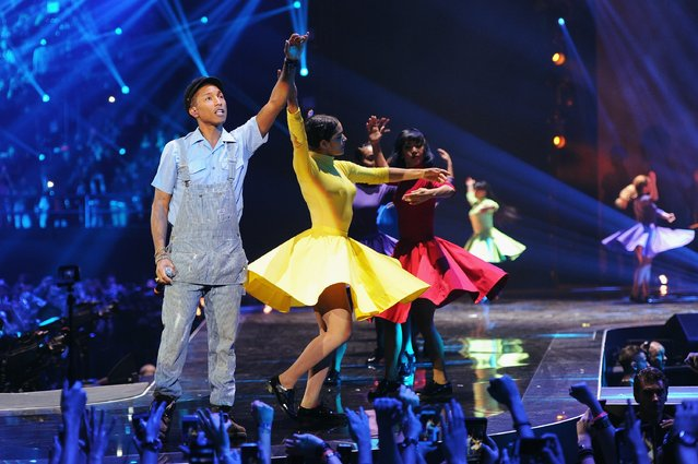 Pharrell Williams on stage during the MTV EMA's 2015 at the Mediolanum Forum on October 25, 2015 in Milan, Italy. (Photo by Brian Rasic/Getty Images for MTV)