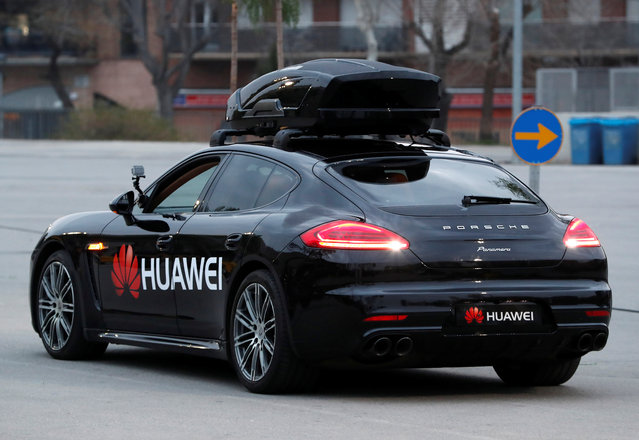 A driverless car controlled by a Huawei Mate 10 Pro mobile is pictured during the Mobile World Congress in Barcelona, Spain, February 26, 2018. (Photo by Yves Herman/Reuters)