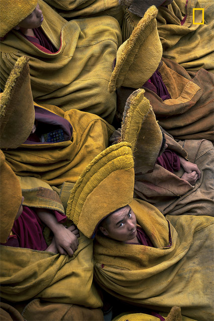 """""""Tibetan Monks during the weekly pray in Tashi LhunPo Monastery in Tibet. The Tashi LhunPo Monastery was founded in 1447 by the 1st Dalai Lama, is a historic important and of of the most influent monastery in Shigatse, the second-largest city in Tibet. Now residences of around 2000 monks"""". (Photo by Mattia Passarini/National Geographic Travel Photographer of the Year Contest)"""