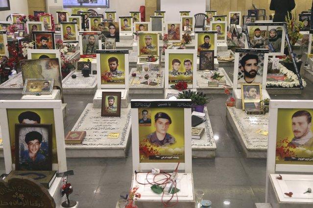 A view shows graves of Lebanon's Hezbollah members during the visit of Ali Akbar Velayati (unseen), Iran's Supreme Leader Ayatollah Ali Khamenei's top adviser on international affairs, in southern suburbs of Beirut, December 1, 2015. (Photo by Aziz Taher/Reuters)
