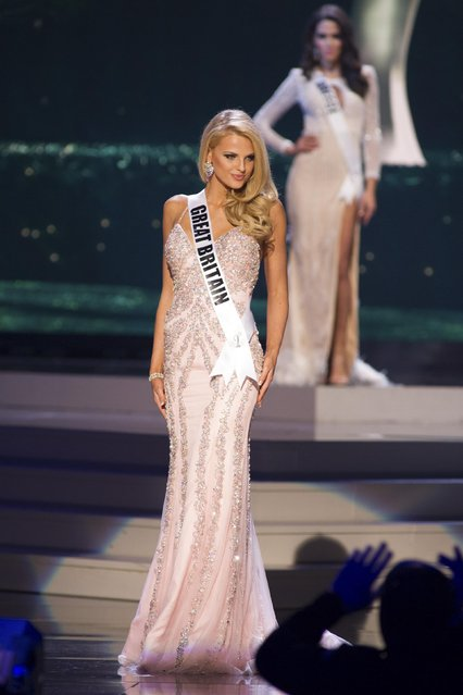 Grace Levy, Miss Great Britain 2014 competes on stage in her evening gown during the Miss Universe Preliminary Show in Miami, Florida in this January 21, 2015 handout photo. (Photo by Reuters/Miss Universe Organization)