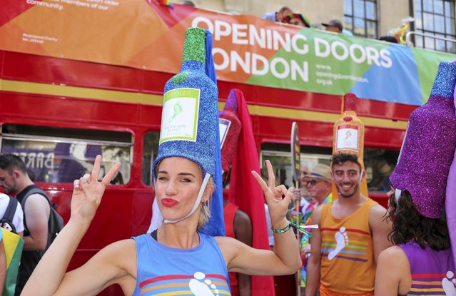Barefoot Wine are the official wine sponsor of Pride In London and have been a proud ally of the LGBTQ community since 1988. They celebrated in this years parade with 6 dancing wine bottles matching the 6 different colours of the pride rainbow on July 7, 2018 in London, England. (Photo by Mark Milan/Getty Images for Barefoot Wine)